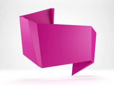 3d abstract glossy magenta origami speech bubble