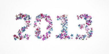 New year 2013 made of confetti isolated