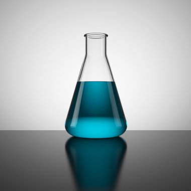Test tube with blue liquid