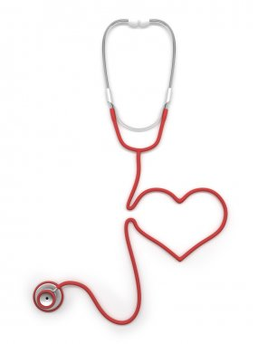 Red stethoscope heart shaped