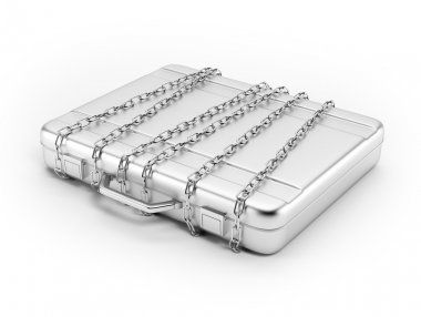 Business briefcase locked with strong chain