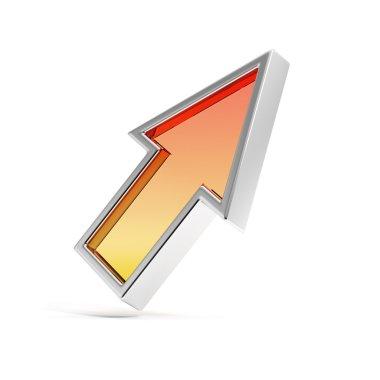 Orange up arrow isolated on white background stock vector