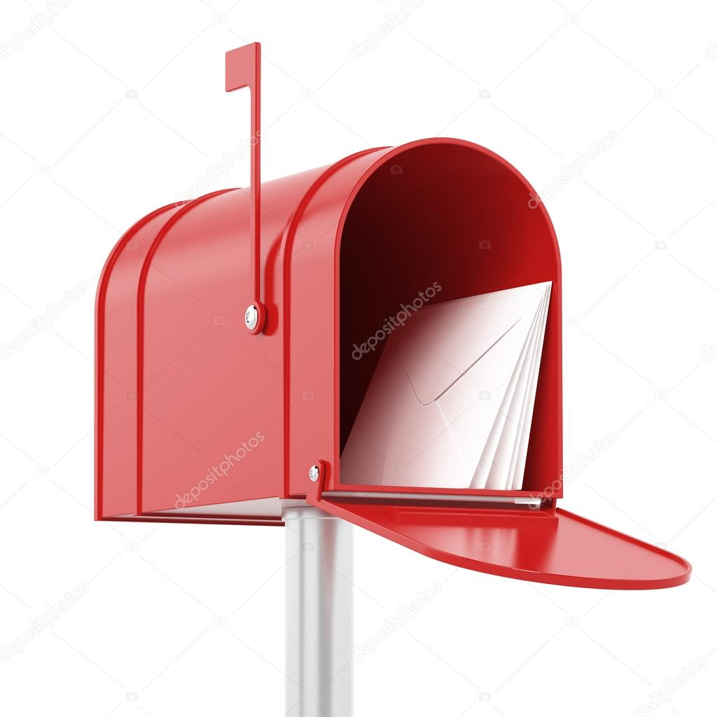 Red red mailbox with mails