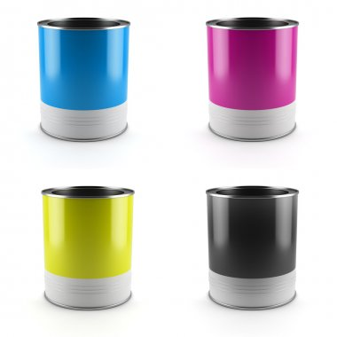 Tin cans with cmyk color paints