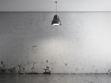 Room with ceiling lamp and concrete floor