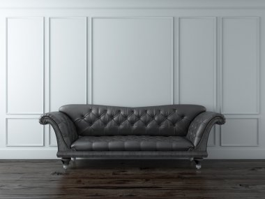 White Classic interior with black sofa. 3d render stock vector
