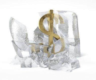 Golden Dollar symbol frozen inside an ice cube