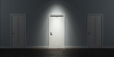 Illuminated door in row