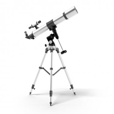 Silver telescope on a support