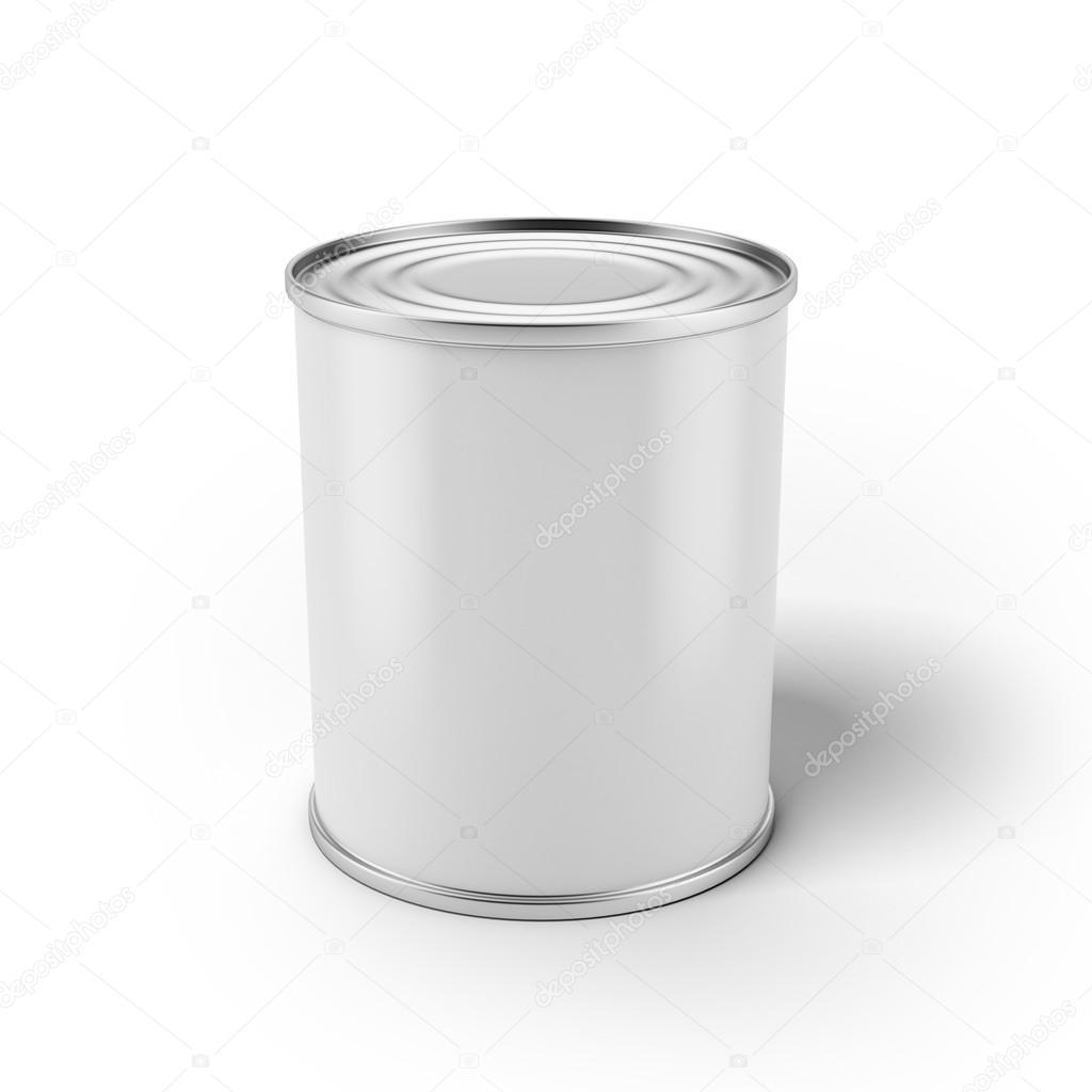 Tin can with blank white label — Stock Photo © ekostsov ...