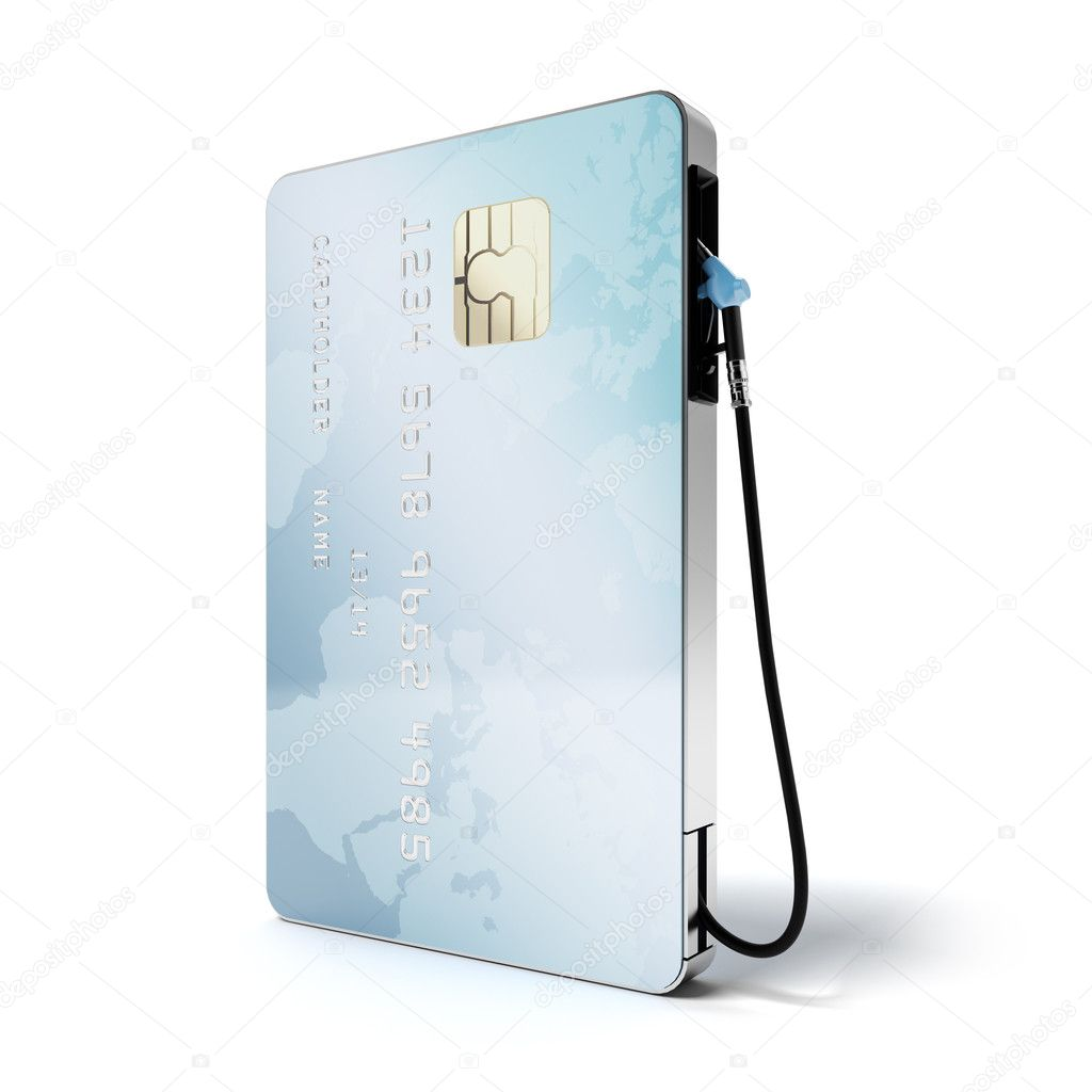 Blue credit card with gas nozzle