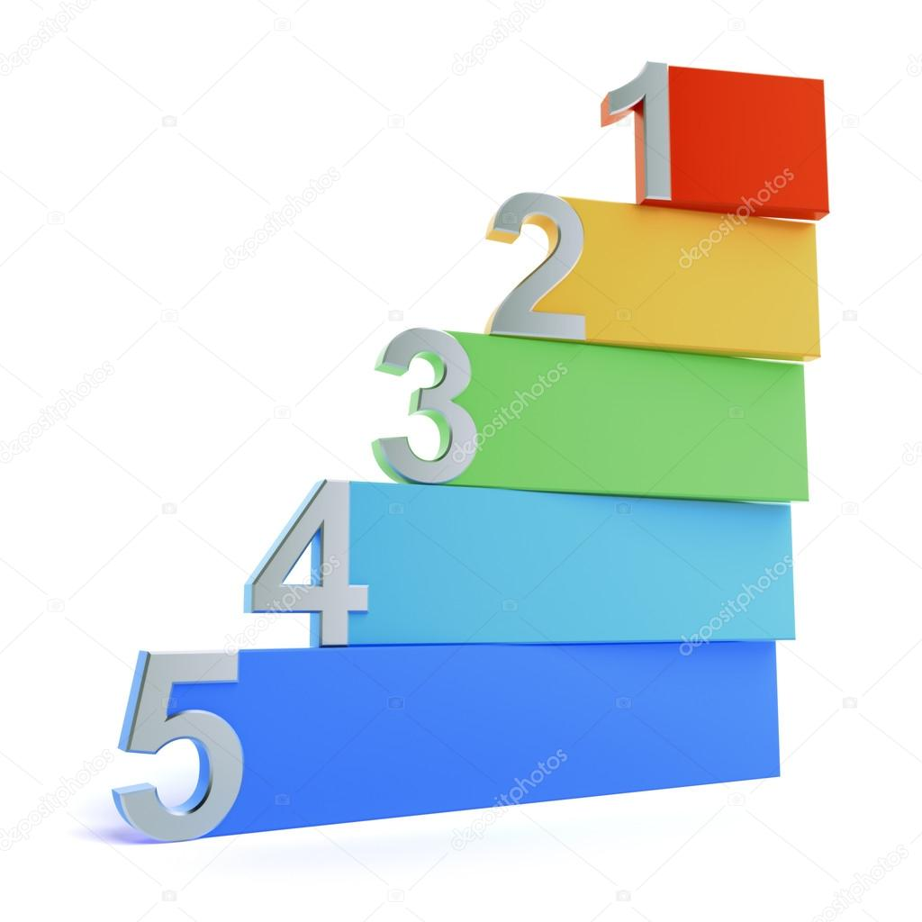 Colourful number background isolated on a white background
