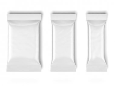 Three White Blank Foil Packaging