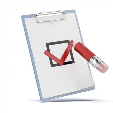 Checklist with a detailed pencil isolated on a white background stock vector
