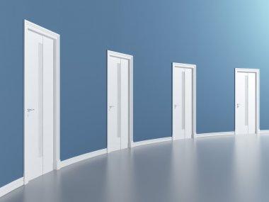 Doors in blue round room