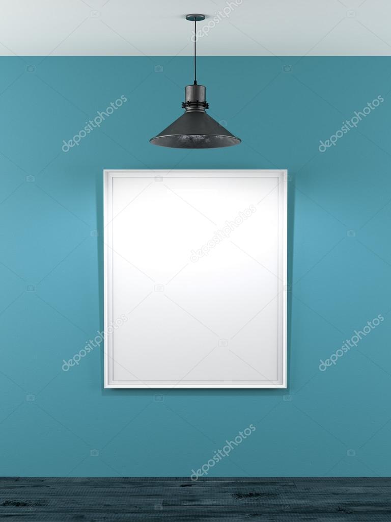 marco blanco en salón azul con lámpara de techo — Foto de stock ...