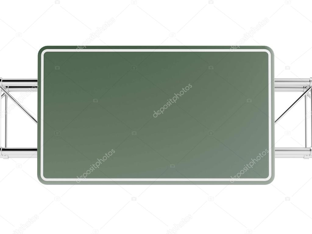 Green highway sign isolated on white