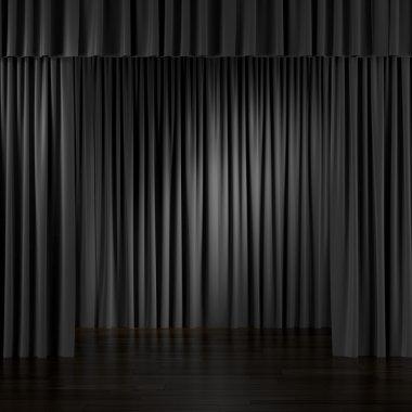 Black Curtains in interior.