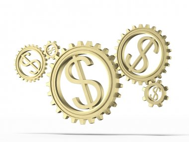 Gears with a gold dollar sign