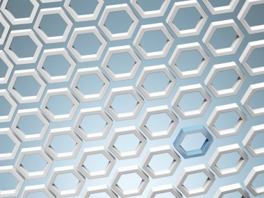 White honey combs whith blue hexagon