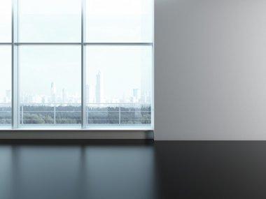 Office window. Blank wall