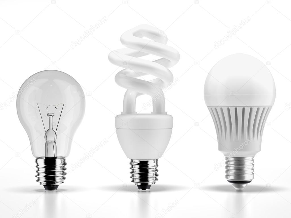 Tungsteno lampade fluorescenti e led u foto stock ekostsov