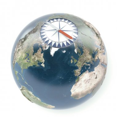 compass with terrestrial globe