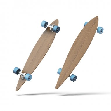 Wood longboard skate isolated on a white background. 3d render stock vector