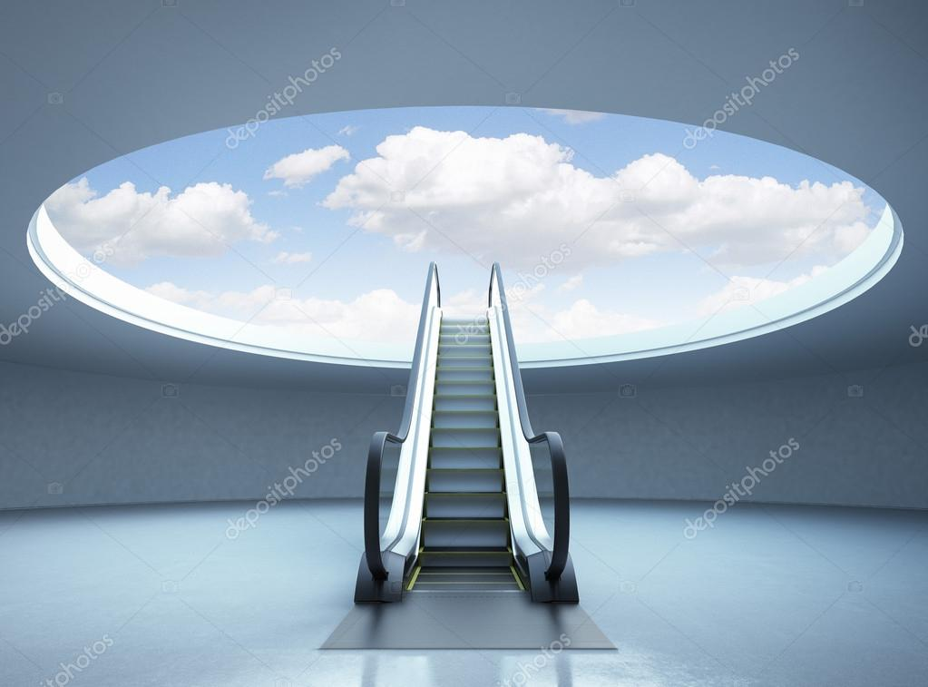 Escalator stairway to success