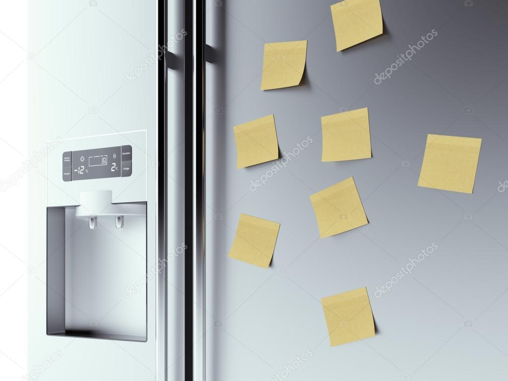Retro Kühlschrank Gelb : Gelbe notizen am kühlschrank hintergrund u stockfoto ekostsov