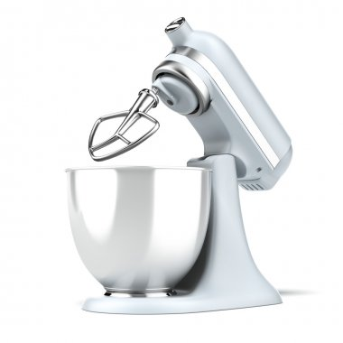 Opened Blue stand mixer