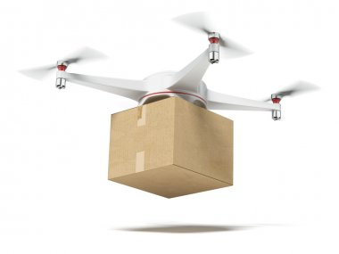 White quadrocopter carrying carton box