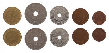 Danish Coins Isolated on White