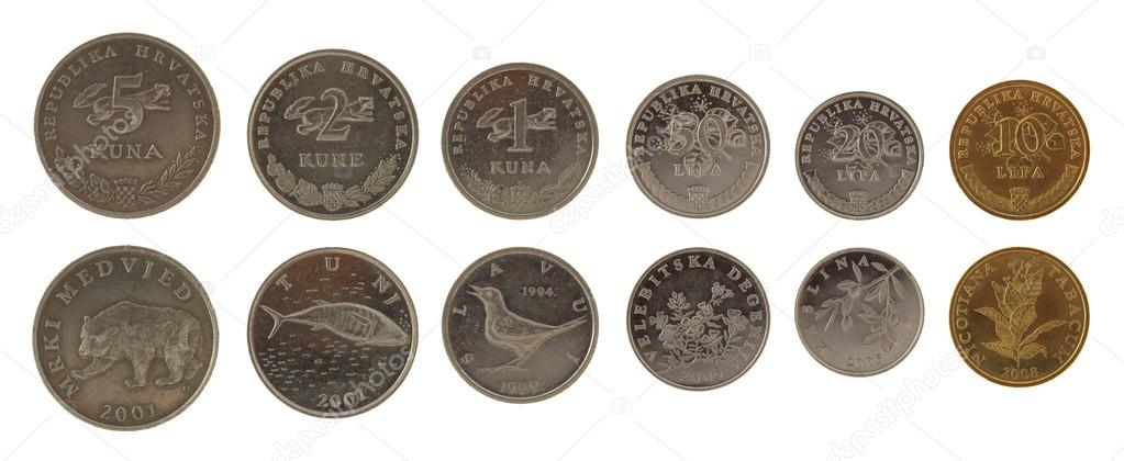 Kroatische Münzen Isoliert Auf Weiss Stockfoto Wrangel 13394509