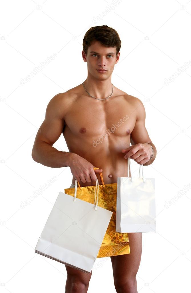 голый парень с подарком