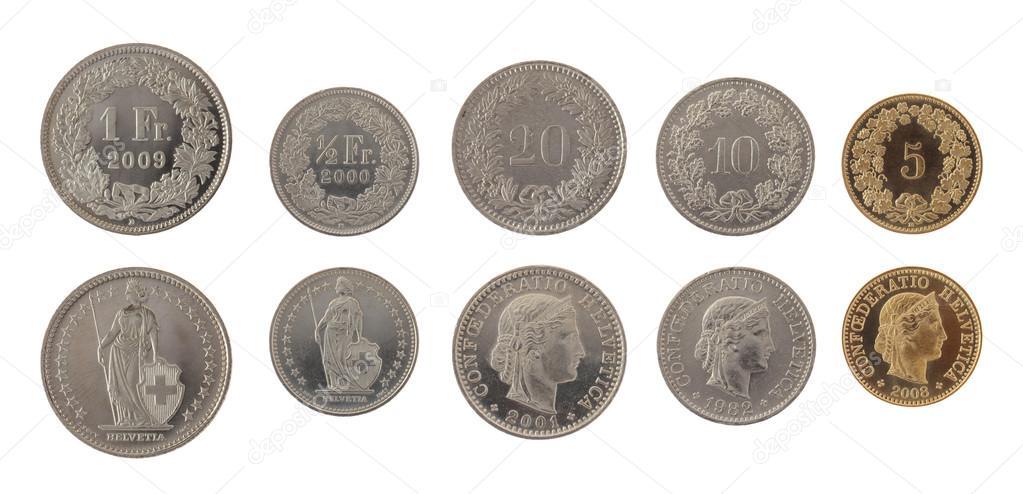 Schweizer Münzen Isoliert Auf Weiss Stockfoto Wrangel 13494620