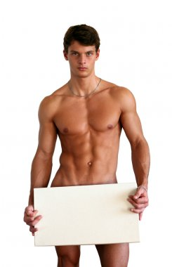 Naked Muscular Man Covering with White Box Isolated on White