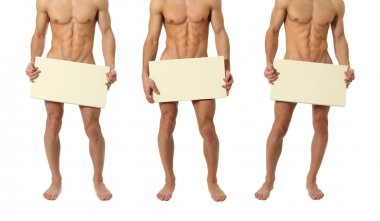 Three Naked Men Covering with a Blank Sign