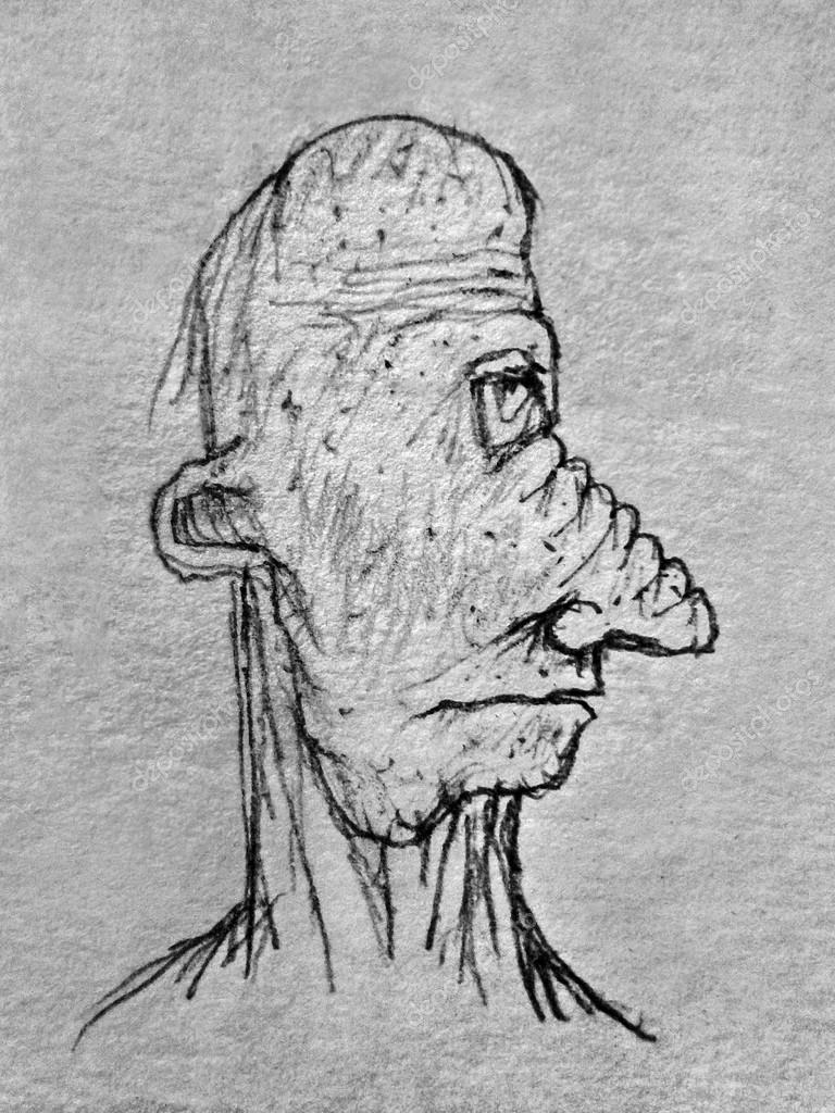 Pencil drawing raster illustration in gray tones portrait of an old man with big and wierd noise shape with sad expression in side view
