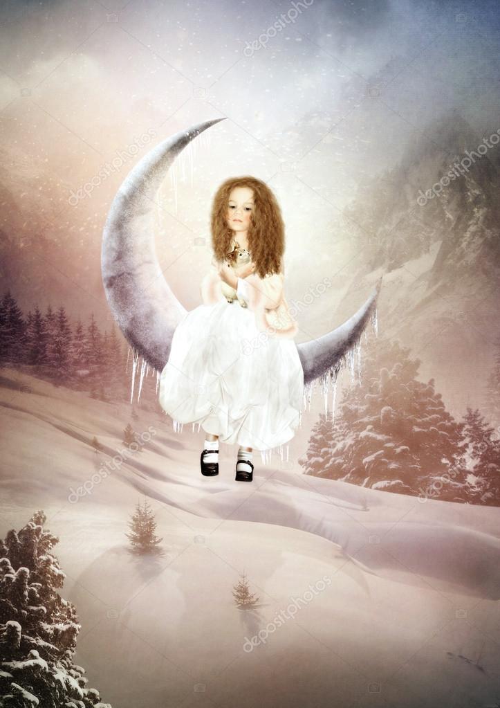 Girl swinging on the moon