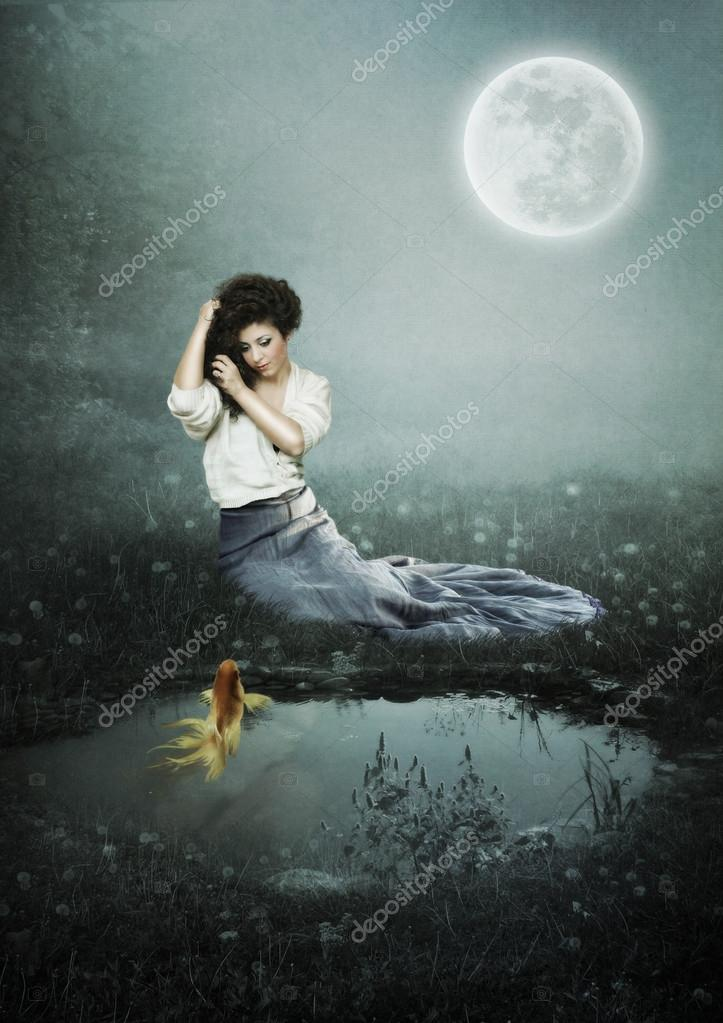 Girl at moonlit night