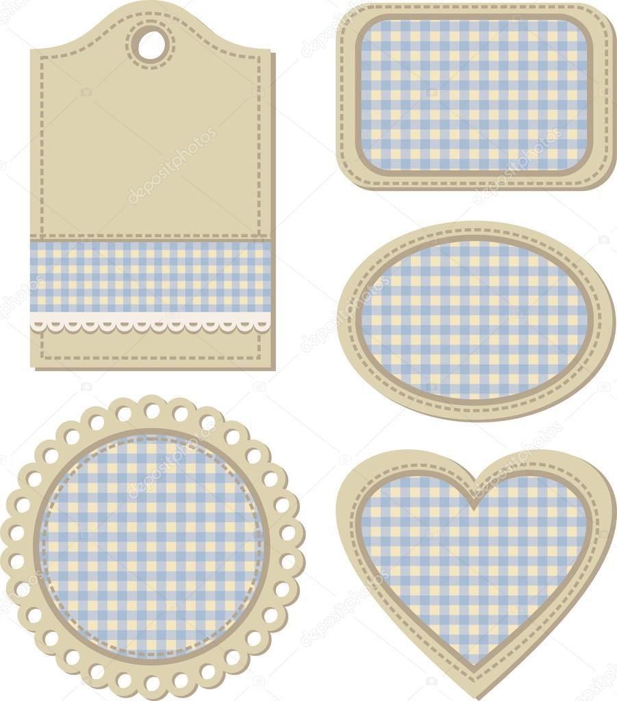 Tags, vintage design elements for scrapbook illustration