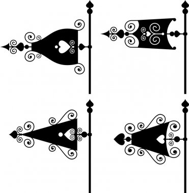 Set of silhouettes of weather vanes