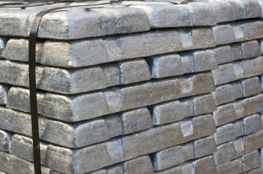 Stack of raw silvery ingots