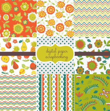 9 Flower & Fruit Designs - Digital paper scrapbook