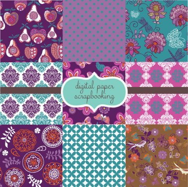 Floral pattern Digital Paper scrapbook