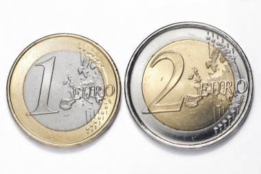 A one and a two euros coins