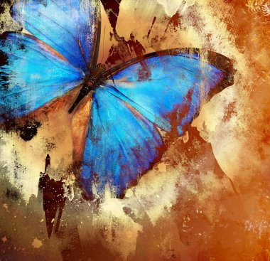 Background in grunge style with butterfly