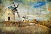 Fotografie Windmühlen von Spanien - Bild im Malstil