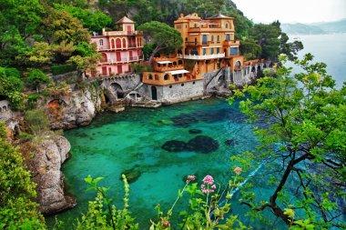 Villa in Portofino, Liguria, Italy. retro styled pictures